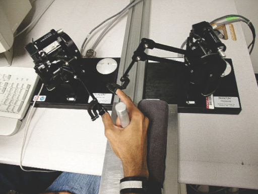 Two PHANTOM™ robots were used to track and distort the index finger and thumb movement trajectories separately.
