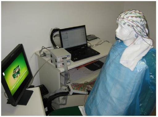 Experimental setup employed for the simulated electrical recording on a mannequin head by means of a 61-channel EEG cap. The polystyrene mannequin head was posed in front of a screen to include the interferences on signals due to the presence of a monitor.