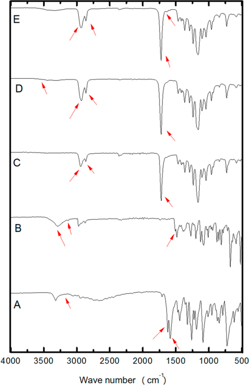 Evaluation of interaction between the fungicides and components of the PCL nanocapsule formulation.FTIR spectra for: (A) MBC, (B) TBZ, (C) PCL, (D) NC-PCL, (E) NC-MBC:TBZ. The arrows indicate the main characteristic absorption bands in each spectrum.