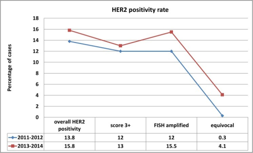 Diagrammatic representation of HER2 positivity rate in percentage in the periods of 2011–2012 (two years) and from October 2013 to October 2014 (12 months).