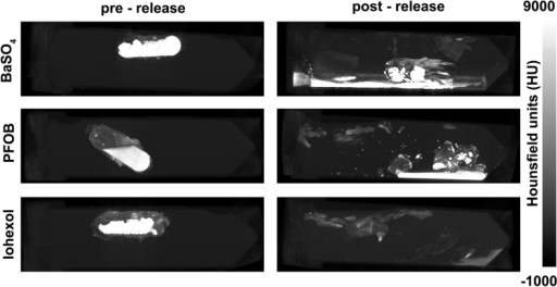 CT images show iron-oxide wax coated capsules containing CT contrast agents before and after triggered release (60 minutes).Post-release images show the distribution of the released contrast agents.