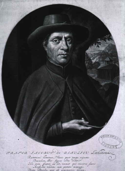 <p>Half-length, front pose, wearing cape and hat.  Church and landscape in background.</p>