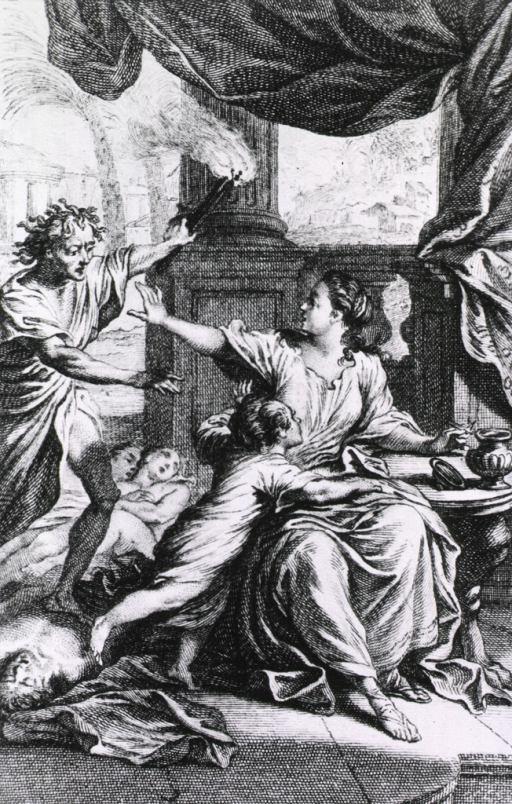 <p>Allegorical scene of child being saved by innoculation.</p>