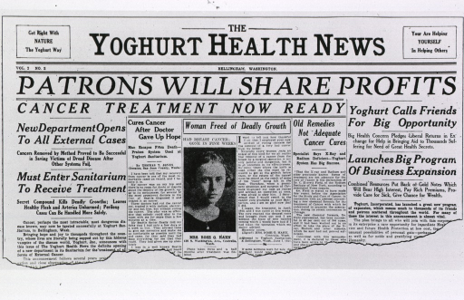 <p>A portion of the front page of the Yoghurt Health News with several stories about cancer cures.</p>