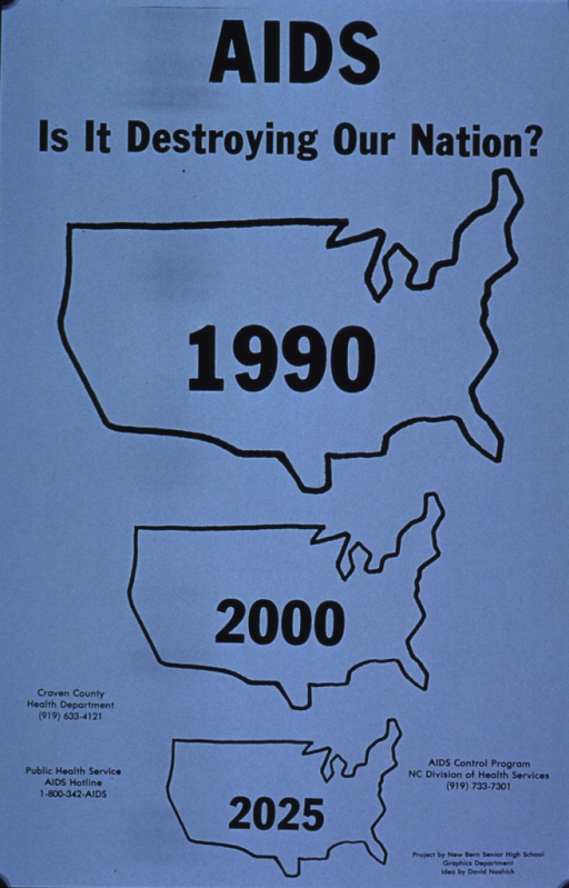 <p>Predominantly light blue poster with black lettering.  Title at top of poster.  Visual images are three outlines of the mainland United States, labeled 1990, 2000, and 2025.  The outlines become smaller as the years advance.  Publisher information in lower right corner.</p>
