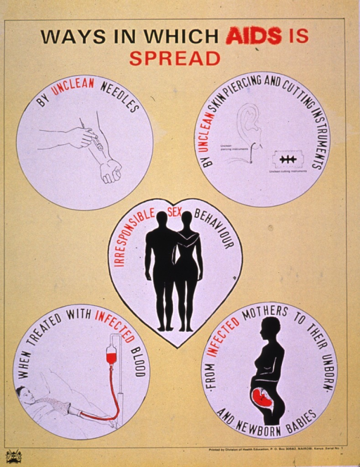 <p>Predominantly yellow poster with black and red lettering.  Title at top of poster.  Visual images are illustrations depicting ways in which AIDS is transmitted, including an injection into the forearm, an ear being pierced and a razor blade, a male-female couple, a person receiving a blood transfusion, and a pregnant woman.  Explanatory text accompanies the illustrations.  Publisher information at bottom of poster.</p>
