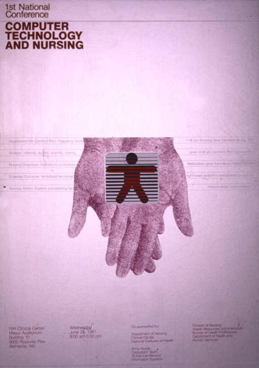 <p>Silver poster with orange, white, and purple print.  A pair of hands in purple, crossed and palms up, appear in the center of the poster.  Superimposed on the palms of the hands is a white square with black lines across it and the outline of a human figure with the arms out straight and standing with its legs slightly apart.</p>