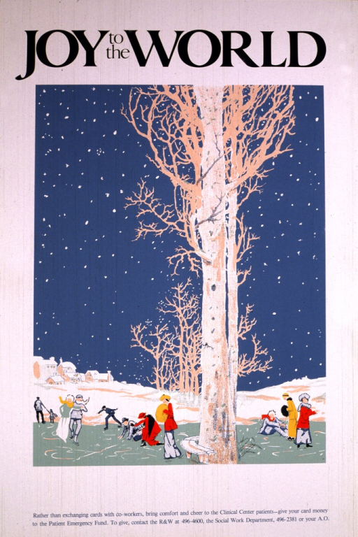 <p>The poster shows a winter scene with people ice skating and homes in the background.  Contact phone numbers for donations are also listed.</p>