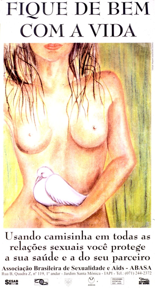 <p>White poster with black lettering.  Title at top of poster.  Visual image is a color illustration of a naked woman, showing her torso and chin.  The woman holds a dove in one hand.  Caption below illustration urges using a condom in all sexual relations to protect one's health and the health of one's partner.  Publisher and sponsor information at bottom of poster.</p>