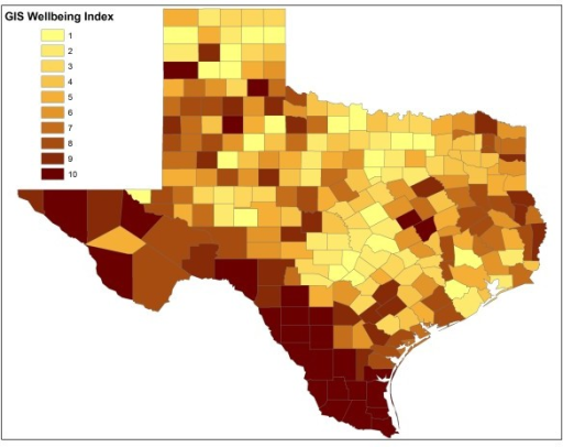 Geographic distribution of counties with different WI in Texas in 2000.