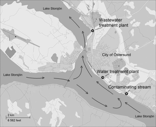 Map Of Lake Storsjön Showing Water Currents Arrows Openi - Sweden map ostersund