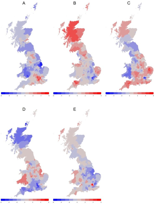 Heat maps of the geographical distribution of personality in Great Britain by LAD.(A) Regional differences in Extraversion. (B) Regional differences in Agreeableness. (C) Regional differences in Conscientiousness. (D) Regional differences in Neuroticism. (E) Regional differences in Openness. For each personality trait, the areas in blue are comparatively low and the areas in red are comparatively high.
