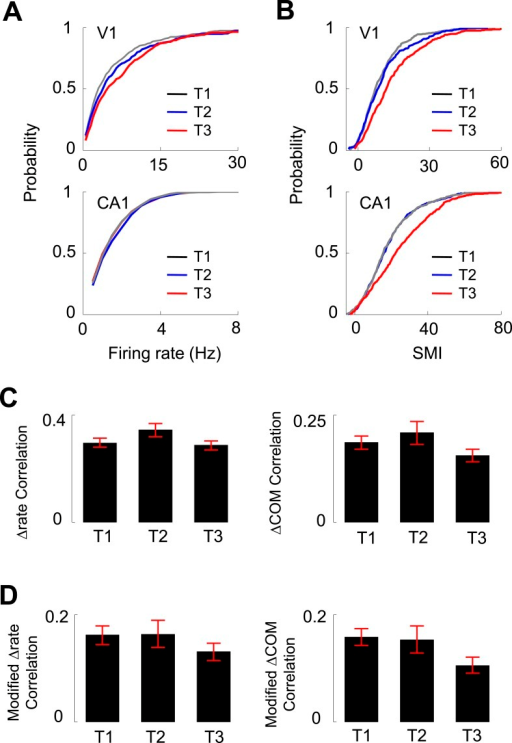 Experience dependence of V1 and CA1 firing activities on the C-shaped track.(A, B) Cumulative distributions of overall firing rate (A) and SMI (B) of active V1 and CA1 cells on different days (T1 – T3, see texts for definition). (C) The average (mean ± S.E.) correlation in the lap-by-lap Δrate (left) and ΔCOM (right) fluctuations for overlapping V1-CA1 cell pairs on different days. (D) Same as C, but for the correlation in modified Δrate and ΔCOM after removing the modulation by speed and head direction.DOI:http://dx.doi.org/10.7554/eLife.08902.015