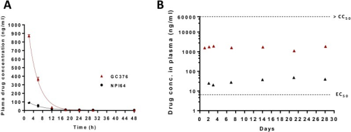 Changes in plasma drug concentrations after administration of 3CLpro inhibitors via a subcutaneous route.(A) In the single-dose pharmacokinetics study, two healthy specific pathogen free (SPF) cats were subcutaneously injected with GC376 at 10 mg/kg/dose or NPI64 at 5 mg/kg for the determination of serial plasma drug concentrations. GC376 and NPI64 are readily converted into aldehyde forms in the blood [28]. The red triangles and black circles indicate the plasma concentrations of the aldehyde forms of GC376 and NPI64, respectively (means and standard error of the means are shown). (B) In the safety study, four healthy SPF cats were subcutaneously given GC376 at 10 mg/kg/dose daily at 9 AM and 5 PM for 4 weeks. During that time, plasma drug concentrations were measured at 2 and 16 hr post-injection for the first three days and weekly thereafter (red and black triangles, respectively, means are shown). The dotted red line indicates the EC50 value of GC376. The 50% cytotoxic concentration (CC50) value of GC376 (>150 μM) is greater than the dotted blue line.