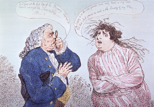 <p>Caricature:  A physician, holding an eye-piece, examines a patient, the Hon. Charles James Fox, who is wearing a straitjacket.</p>