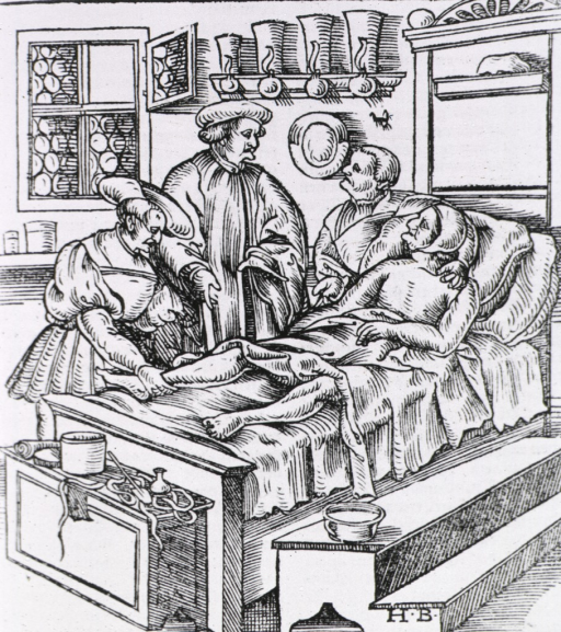 <p>Two physicians visit a bedridden old patient and his wife.</p>