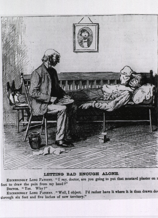 <p>A rather tall man with a headache, is lying on a bench, his feet extending beyond the end; a physician sits on a chair next to the bench, he is mixing a mustard plaster to draw the pain from the man's head.</p>