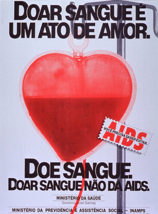 <p>White poster with black and red lettering.  Title at top of poster.  Visual image is an illustration of a heart-shaped bag of blood hanging from an I.V. pole.  Note superimposed on illustration commands reader to know how to prevent AIDS.  Caption below illustration stresses that giving blood does not result in AIDS.  Publisher information below caption.</p>