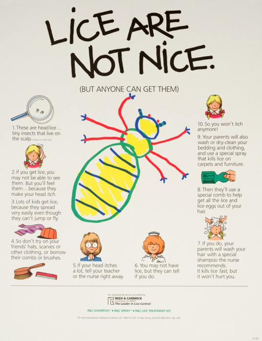 <p>Predominantly white poster with black and green lettering.  Title at top of poster.  Dominant visual image is a reproduction of a child's drawing of a louse.  Smaller illustrations accompany text explaining lice and their treatment in a manner appropriate for school children.  Publisher information at bottom of poster.</p>