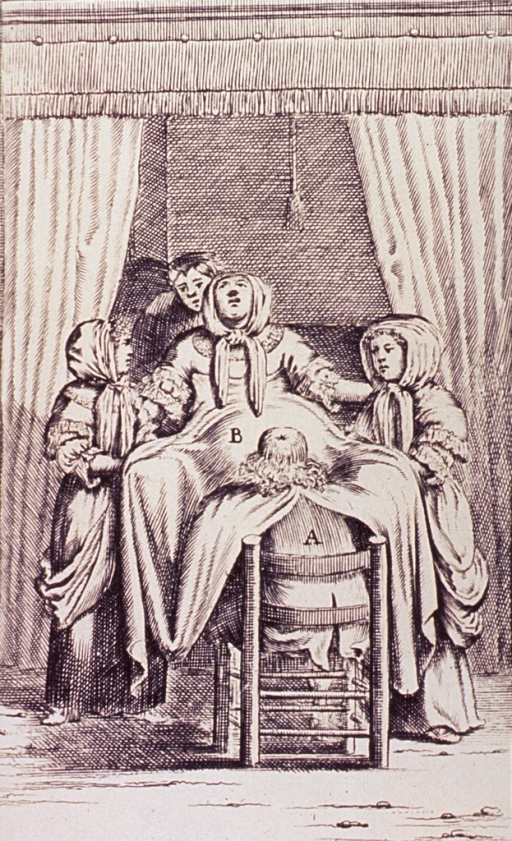 <p>Interior view: a woman is assisted during childbirth by a male midwife, two young women, and another person, possibly her husband.</p>