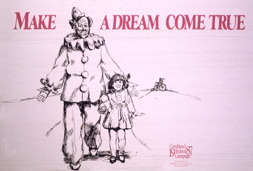 <p>The poster shows the sketch of a clown with a young girl standing beside him, her wheelchair in the background.</p>