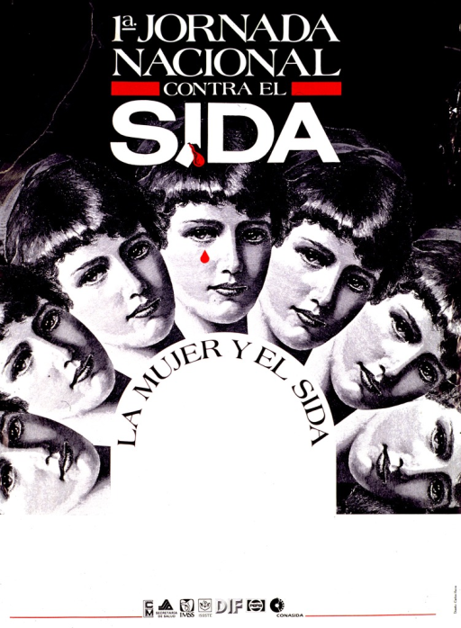 <p>Predominantly black and white poster with red highlights.  Initial title phrase at top of poster.  Visual image is an illustration of a woman's face, repeated seven times in an arch-shaped pattern.  Remaining title text below illustration.  Publisher and sponsor logos at bottom of poster.</p>