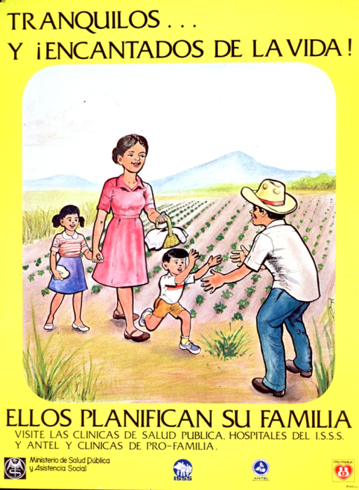 <p>Predominantly yellow poster with black lettering.  Title at top of poster.  Visual image is an illustration of a four-member family.  It appears that the mother and children are bringing something to the father, who is working in a field.  The son runs toward the father with open arms.  Caption below illustration indicates that the parents planned their family.  Additional text urges visiting public health clinics or other health facilities.  Publisher and sponsor information at bottom of poster.</p>