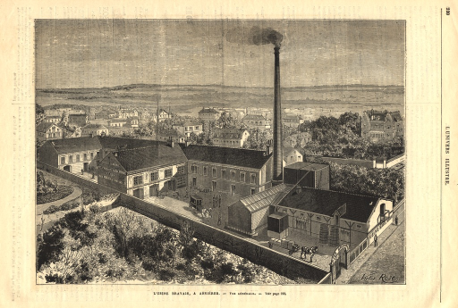<p>Aerial rendering of the buildings and grounds of the firm.</p>