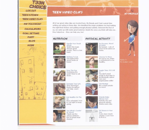 "Screenshot of ""Teen Video Clips"" (short, animated role model stories) showing titles of topics addressed in the online behavior change program)."