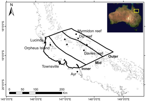 Study area.Location and extent of cross-shelf study regions and AIMS monitoring loggers used in this study. Named reefs indicate loggers used in this study. Black-fill triangles indicate loggers used to validate the generality of SST trends for each study region. Inset: approximate location of the study area; composite satellite image of Australia courtesy of NASA (2002) MODIS technology.