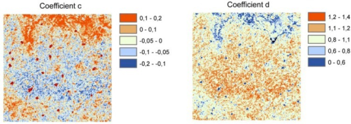 Soil moisture scaling parameters clr (left) and dlr (right) derived from ASAR image time series.
