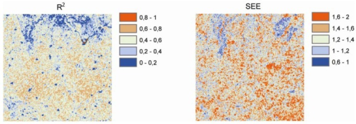 Coefficient of determination R2 (left) and standard error of estimate (SEE) expressed in decibels (right) of the linear backscatter scaling model. The forest and settlement polygons from the land cover map are overlain over the images for orientation purposes.