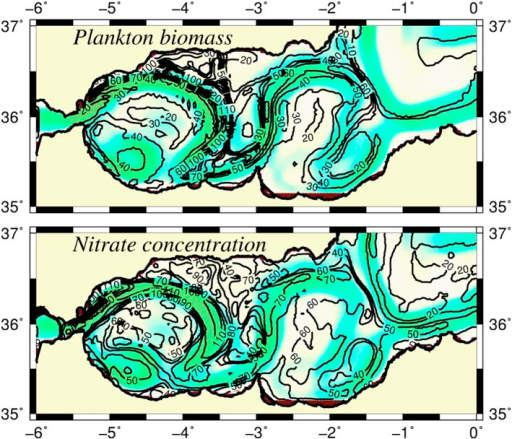 Modeled plankton biomass.Horizontal distributions of (a) integrated plankton biomass (phytoplankton plus zooplankton) and (b) integrated nitrate concentration over the upper 75 m layer (mmol N m−2), The background color shows the trajectory of the Atlantic jet. The contour interval is 10 mmol N m−2 for both plankton biomass and nitrate concentration.