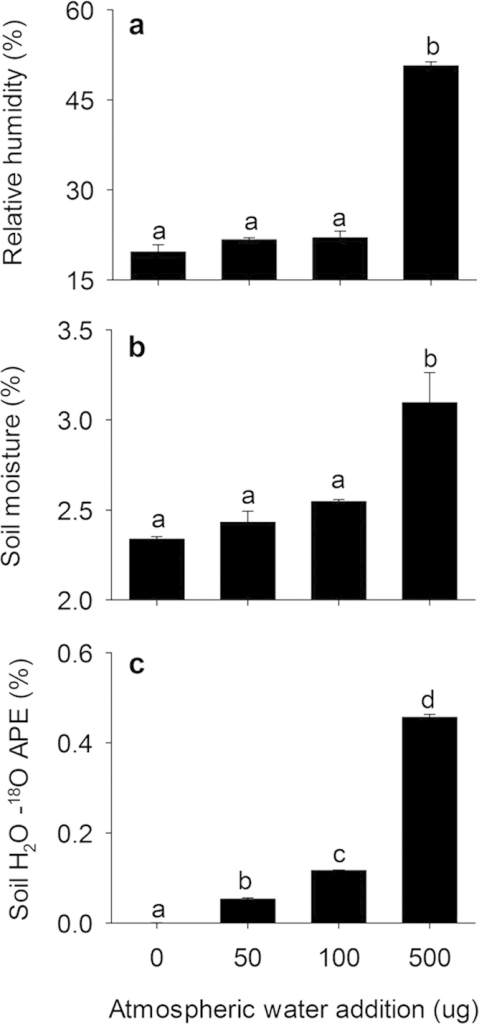 Atmospheric relative humidity (a) soil gravimetric moisture content (b) and soil water 18O atom percent excess (c) in response to atmospheric water vapor addition. Error bars are standard error for means (n = 3). Significant differences as determined by one-way ANOVA and Tukey's post-hoc test are indicated using lowercase letters (α = 0.05).