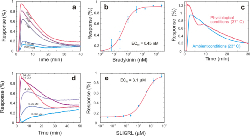 Validation experiments of the intensity based readout with G protein-coupled receptor (GPCR) assays.(a) Real-time response of A431 cells to bradykinin dose variations. (b) Dose response curve with duplicates of maximum response to bradykinin. The EC50 value derived from this curve is 0.45 nM. (c) Comparison of real-time response of A431 cells to bradykinin at ambient (23 °C) and physiological (37 °C) conditions. The maximum response and the curve shape show differences. (d) Whole cell real-time response of A431 cells to protease-activated receptor-2 activating peptide SLIGRL dose variations. (e) Dose response curve with duplicates of maximum response to SLIGRL resulting in an EC50 value of 3.1 μM.