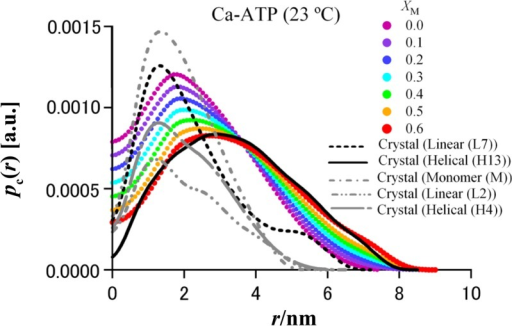 The model-free cross-section structure analysis of actin oligomers.Cross-section pair-distance distribution functions pc(r) of actin oligomers for Ca-ATP at 23°C. Also shown are the simulated pc(r) for crystal structures of the elongated helical (H13) and linear (L7) aggregates. For comparison, we additionally plotted the simulated pc(r) for a monomer and short-chain oligomers, L2 and H4.