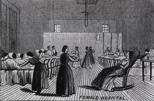 <p>Interior of female hospital at Sing Sing Prison, New York.</p>