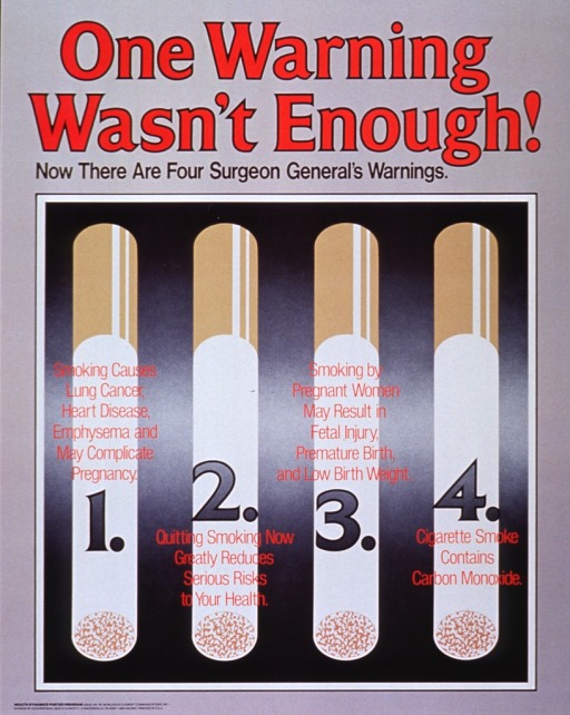 <p>Gray poster with red and black lettering.  Title at top of poster.  Visual image is an illustration of four cigarettes.  A different Surgeon General's warning is superimposed on each of the numbered cigarettes.</p>