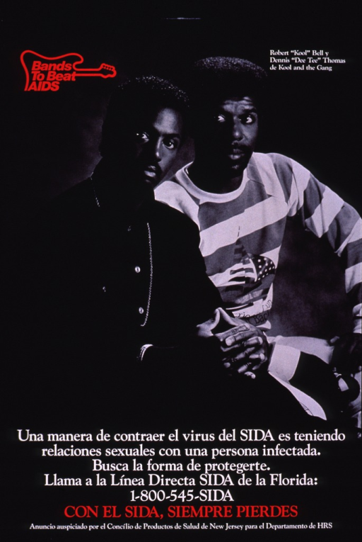 <p>Predominantly black poster with red and white lettering.  Note in upper left corner, incorporated into a guitar-shaped logo.  Visual image is a b&amp;w photo reproduction featuring Robert &quot;Kool&quot; Bell and Dennis &quot;Dee Tee&quot; Thomas, members of the musical group Kool and the Gang.  Title and caption superimposed on lower portion of photo.  Sponsor and publisher information at bottom of poster.</p>