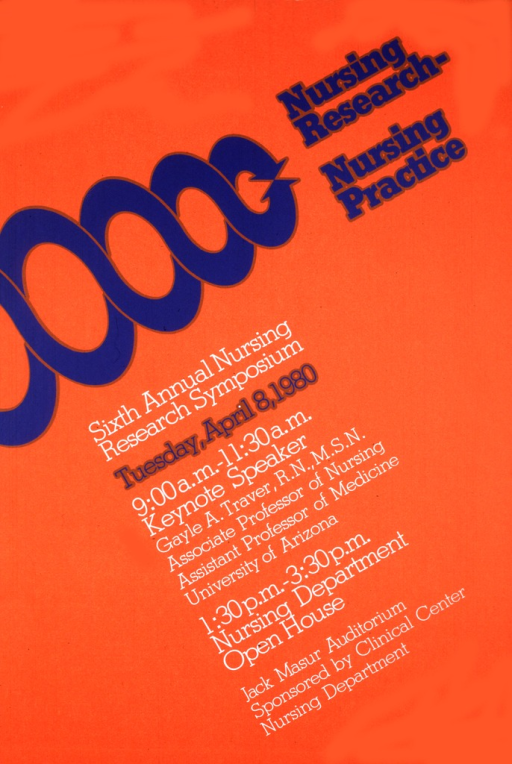 <p>Orange poster with title in large blue print with the remainder of the print primarily in white.  There is a set of blue arrows that cross over each other, making circles, ending with the two arrows meeting at the tips.</p>