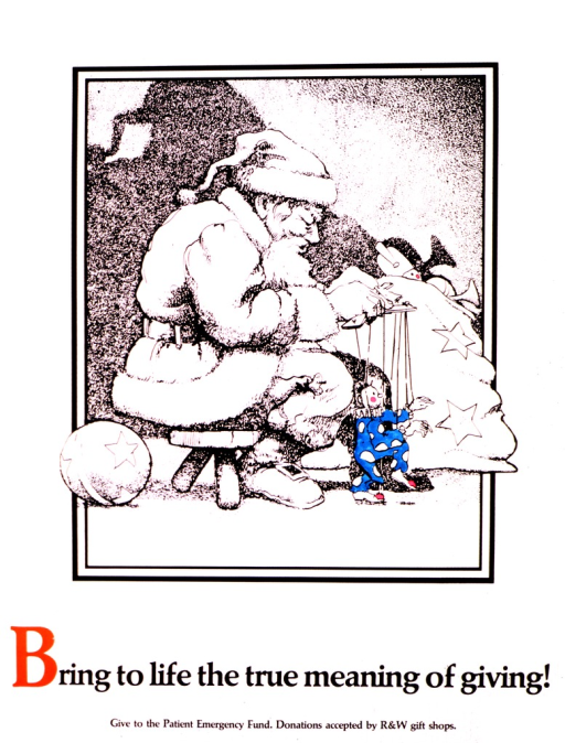 <p>Black and white sketch of Santa surrounded by toys.  He is sitting on a bench, playing with a marionette that is turquoise and pink, the only color on the poster.</p>