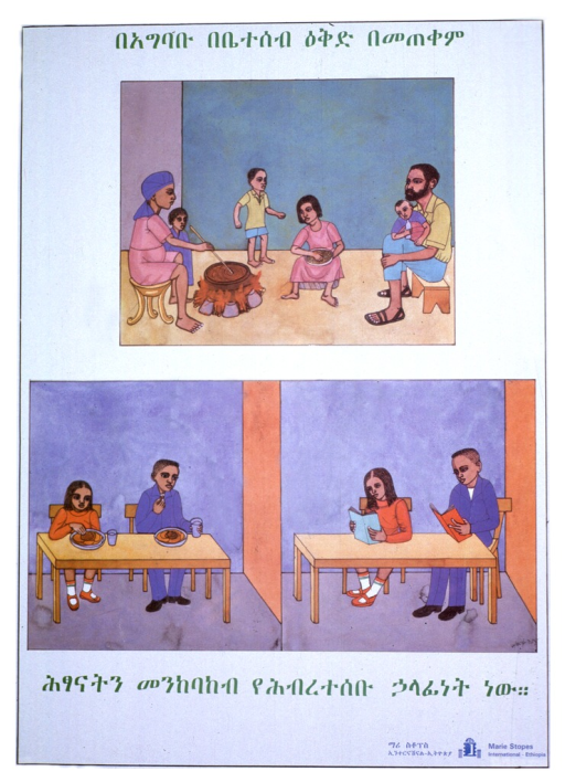 <p>White poster with green and blue Ethiopic lettering.  Line of text at top of poster.  Visual image consists of three illustrations.  Illustration in upper portion of poster shows a family preparing a meal.  There are four children.  All but the father go barefoot and there is little furniture.  Illustrations in lower portion of poster show two well dressed children eating a meal and the same two children reading books.  Additional line of text below illustrations.  Publisher information in lower right corner in Amharic and English.</p>