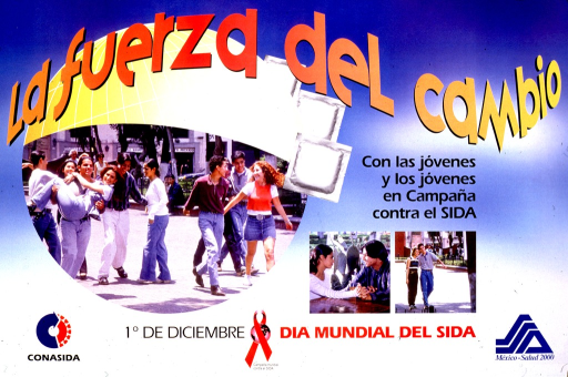 <p>Predominantly blue poster with multicolor lettering.  Title in upper portion of poster.  Visual images are color photo reproductions showing young men and women.  Caption below photos announces World AIDS Day.  Publisher and sponsor logos in lower corners.</p>