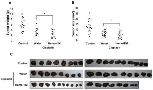 The inhibition of tumor growth was enhanced by HemoHIM administration in melanoma-bearing mice which were injected with cisplatin. All mice performed as described in figure 3 were sacrificed at 17 days after initial injection of cisplatin. Tumor weight (A) and size (B) were measured. (C) Photographs of melanoma solid tumor taken from all mice of each group. There were twenty mice in each group. Data show the Mean ± SD. *p < 0.1 compared with only cisplatin treated group.