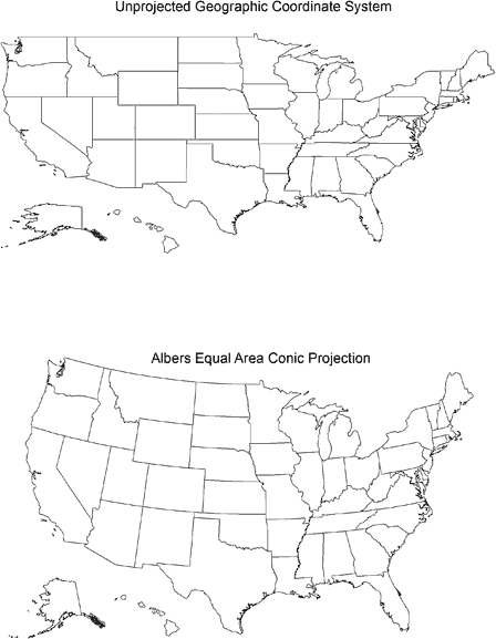 Two Drawings Of A US Map The Top Map Uses Unprojected Openi - Us map line drawing