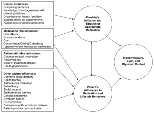 Factors influencing providers' medication prescribing and patients' adherence to medications.