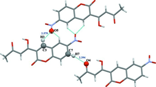 View showing the weak C–H···O intermolecular interactions in compound (I).
