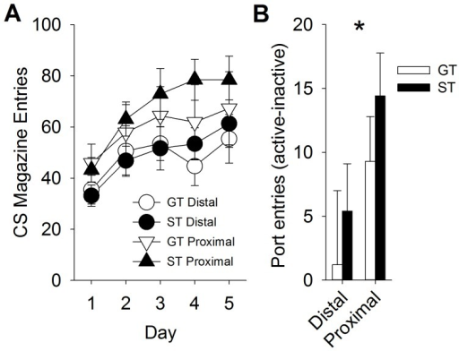 Proximal auditory stimuli (either tone or white noise) are more reinforcing than distal stimuli.Rats made more food-cup entries during the proximal stimulus presentation during training (panel A), and performed more nose-pokes for the proximal stimulus (panel B). Data are represented as mean (± SEM). There were no significant differences between sign-trackers (ST) and goal-trackers (GT).