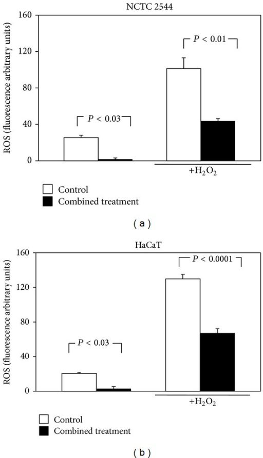 Effect of the combined treatment with all the seven supplement's components on ROS production in keratinocytes exposed or not to H2O2. Cells were treated simultaneously for 24 h with all the components and then exposed to H2O2 (100 μM, 30 min) or vehicle alone. Each component was used at the highest concentration reported in Section 2. Data are the means ± SE of a number of determinations ranging from 3 to 8. Significance was evaluated by the two-tailed unpaired t-test.