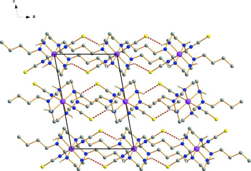 View of the crystal packing, with N—H⋯S hydrogen bonds drawn as red dashed lines. H atoms have been omitted for clarity.